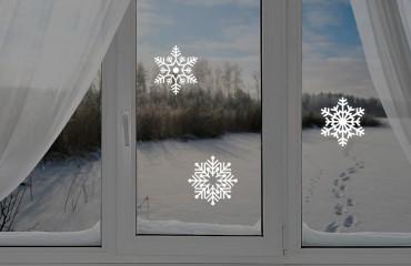 Снежинки-стикеры, d10 см